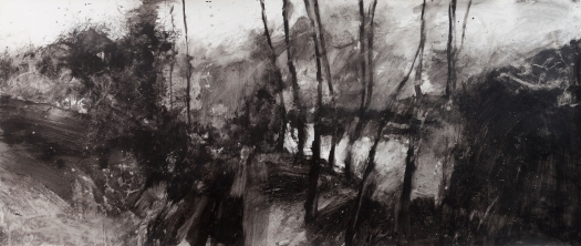 only the wind - 140 x 60 cm. mixed media on paper.
