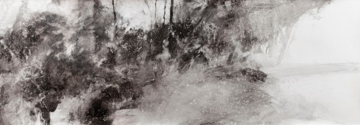 the quiet of rain 140 x 60 cm. mixed media on paper.